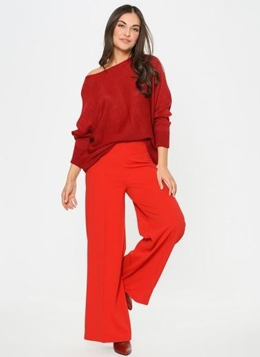 Loves You Yanı Fermuarlı Bol Paça Likralı Pantolon Kırmızı